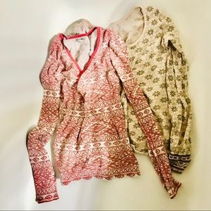 TWO Lucky Brand thermal style long sleeve SZ M